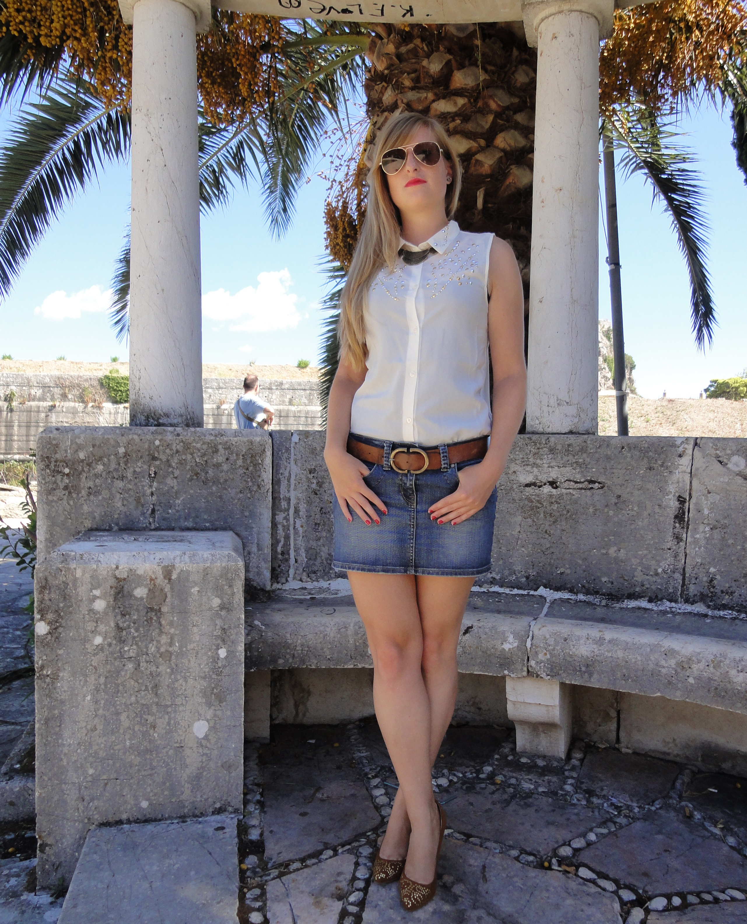 Oldie but Goldie – denim skirt in Corfu