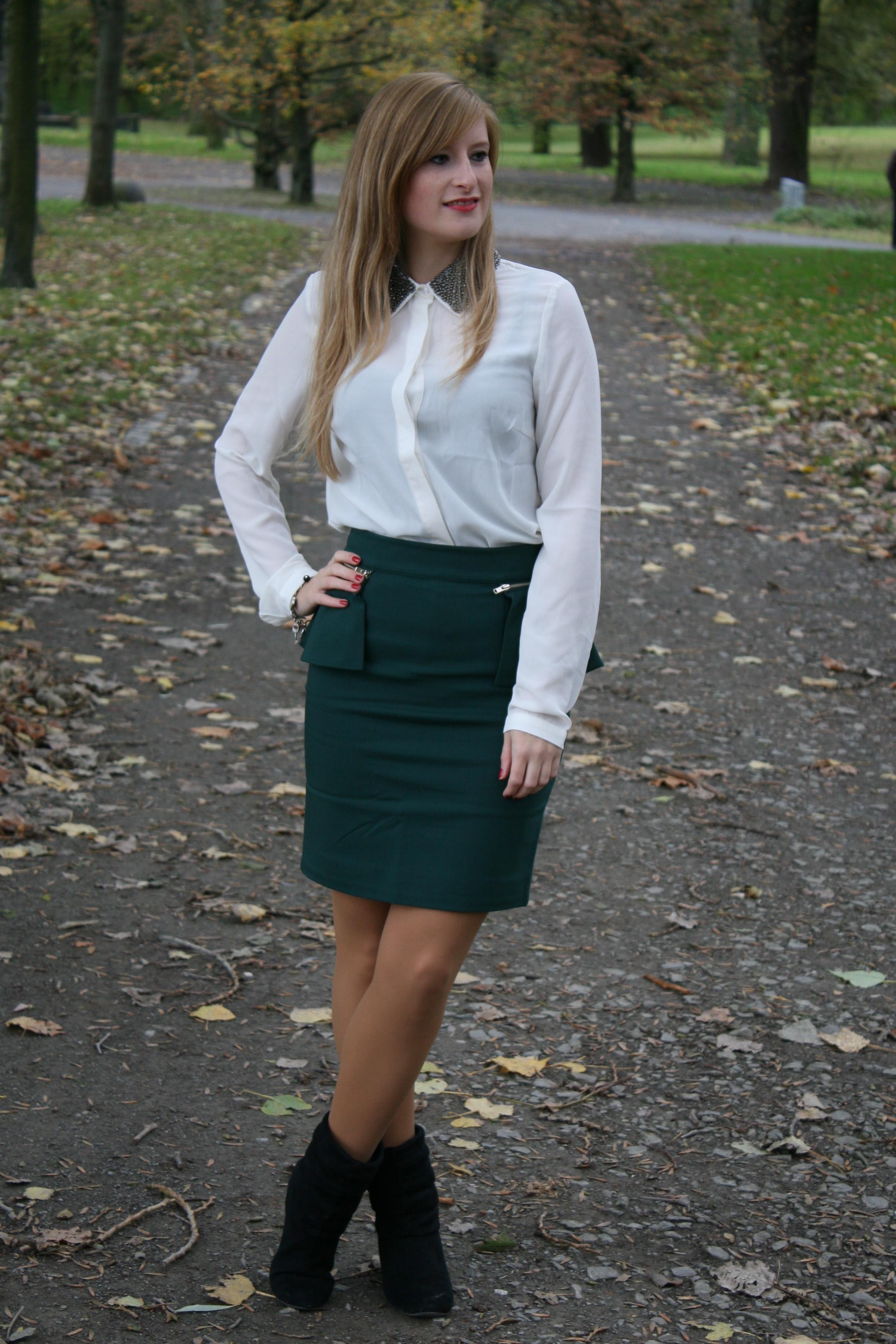 pencil skirt & white blouse