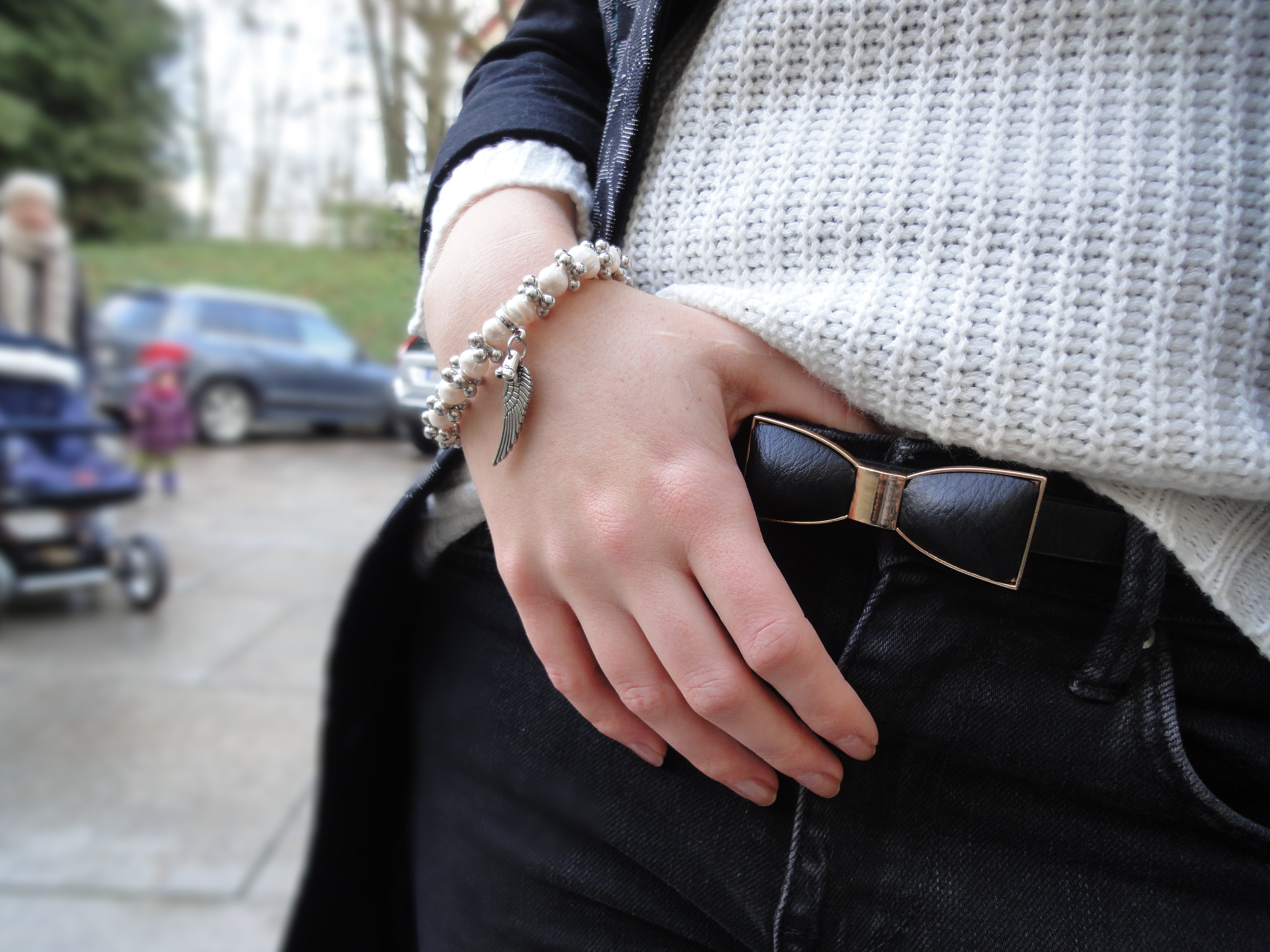 black coat & Silvity bracelet