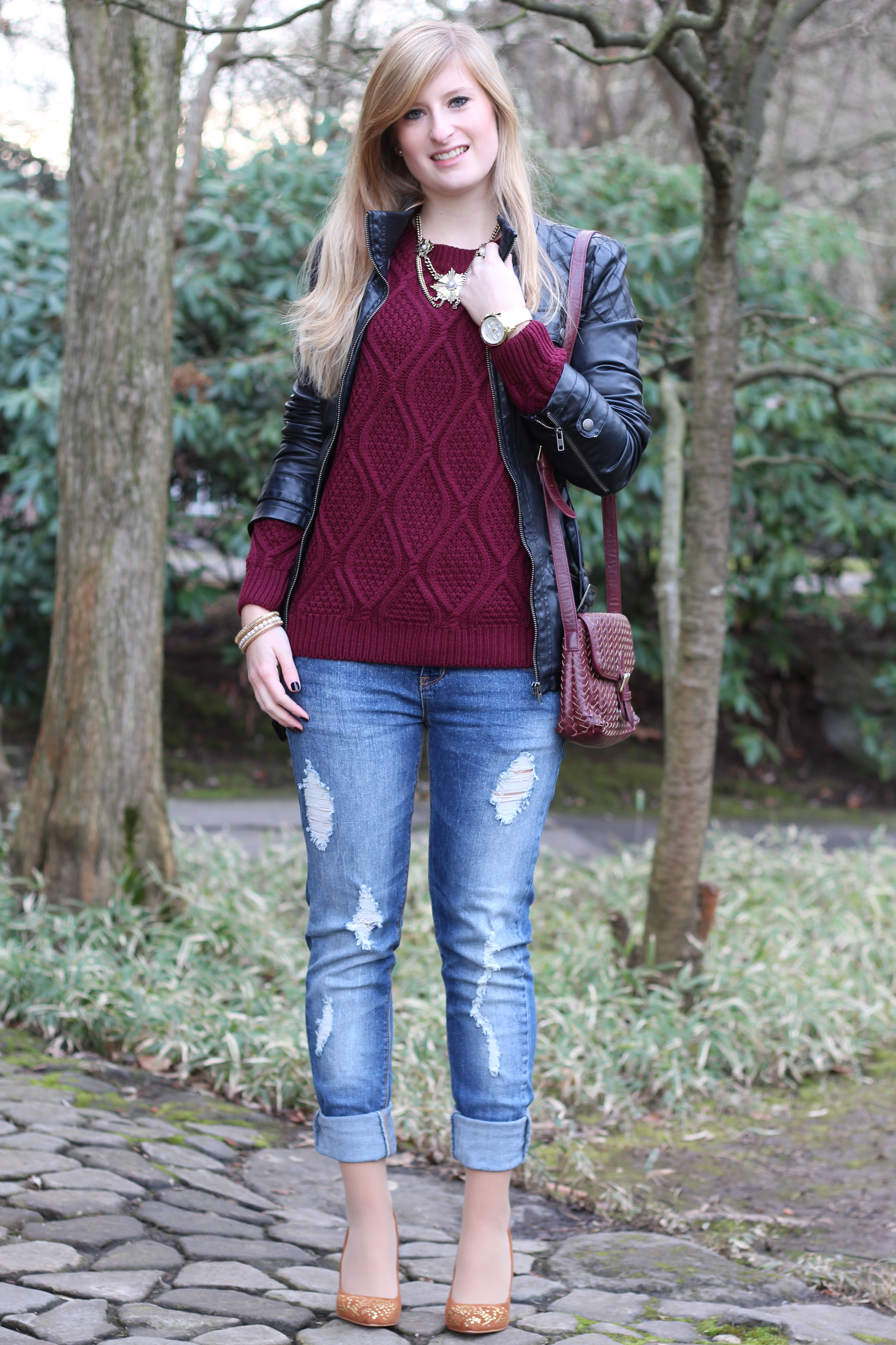 Red pullover outfit